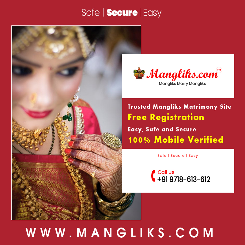 100% Mobile Verified Profiles. Safe Secure and Easy . Register Free to Find Your Perfect Mangliks Life Partner